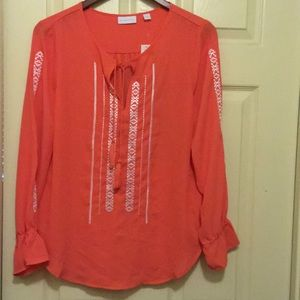 Beautiful coral tie front blouse